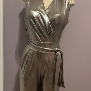 Metallic look jumpsuit.